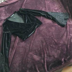 velvet crop top with bell sleeves US 2